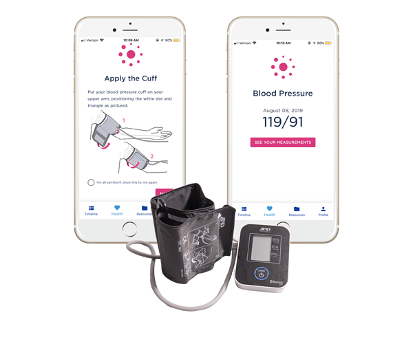 Babyscripts app and blood pressure monitor