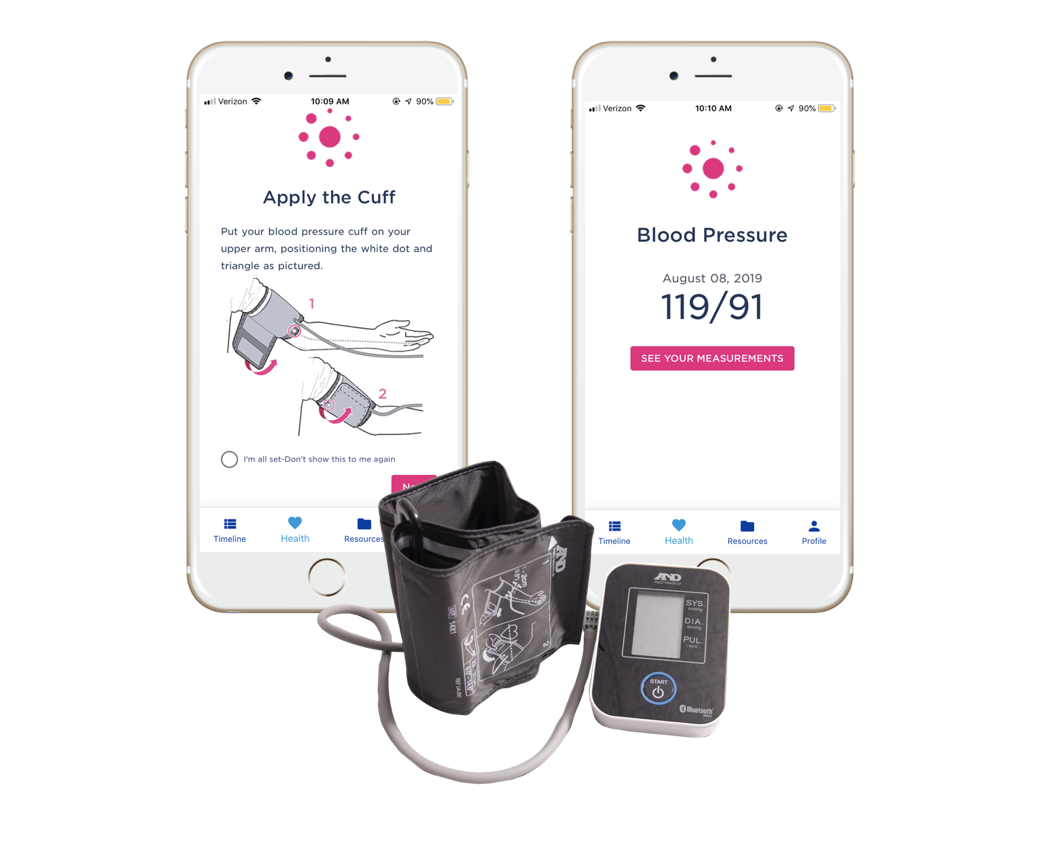 Babyscripts App on phone with Blood pressure cuff