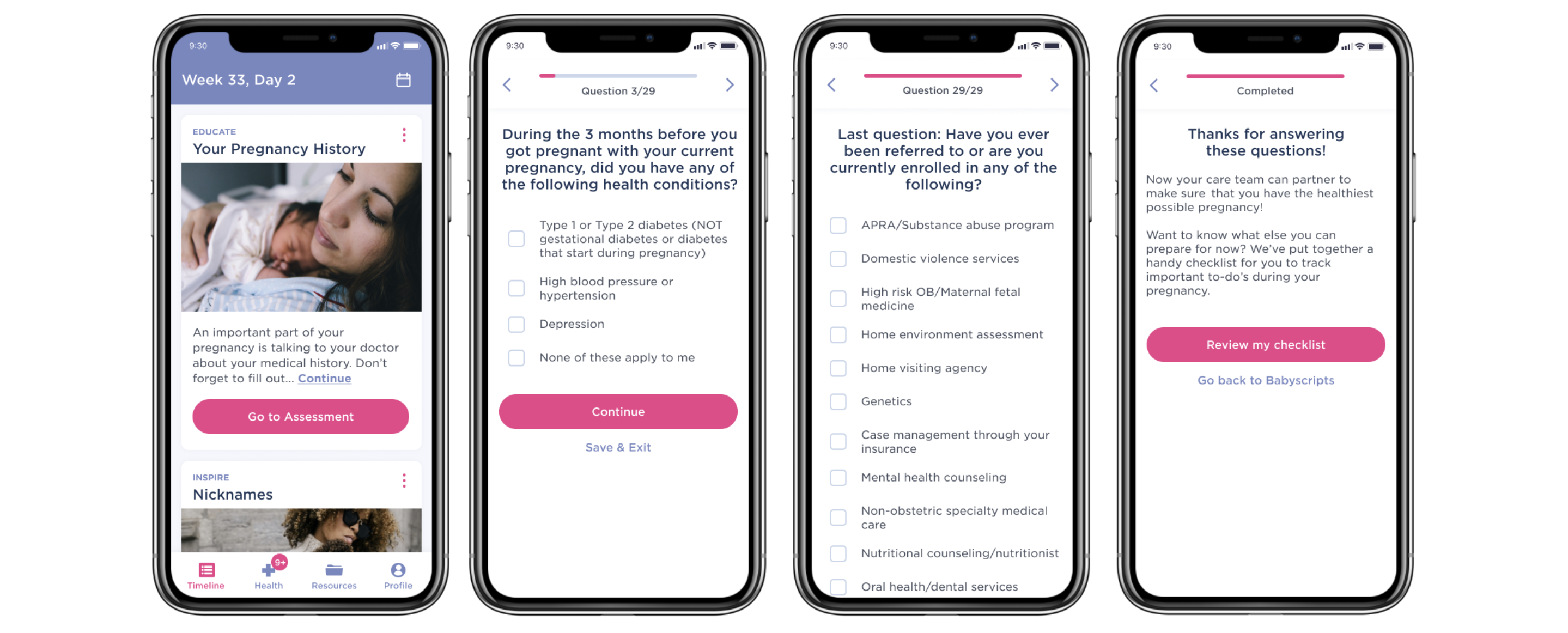 Babyscripts Maternal Population Health App on phone